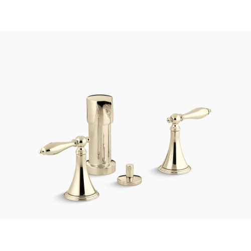 Vibrant French Gold Vertical Spray Bidet Faucet With Lever Handles and Matching Handle Inserts