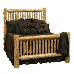 Cedar King Small Spindle Log Bed - Complete - Traditional Cedar