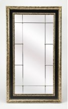 Perfect leaned up across the room from a bright window or stationed behind an accent table in the living room. Its beauty is accentuated by its santique pewter finish and small rosette accents. The mirror is beveled adding to its style and allure. It is a Product Image