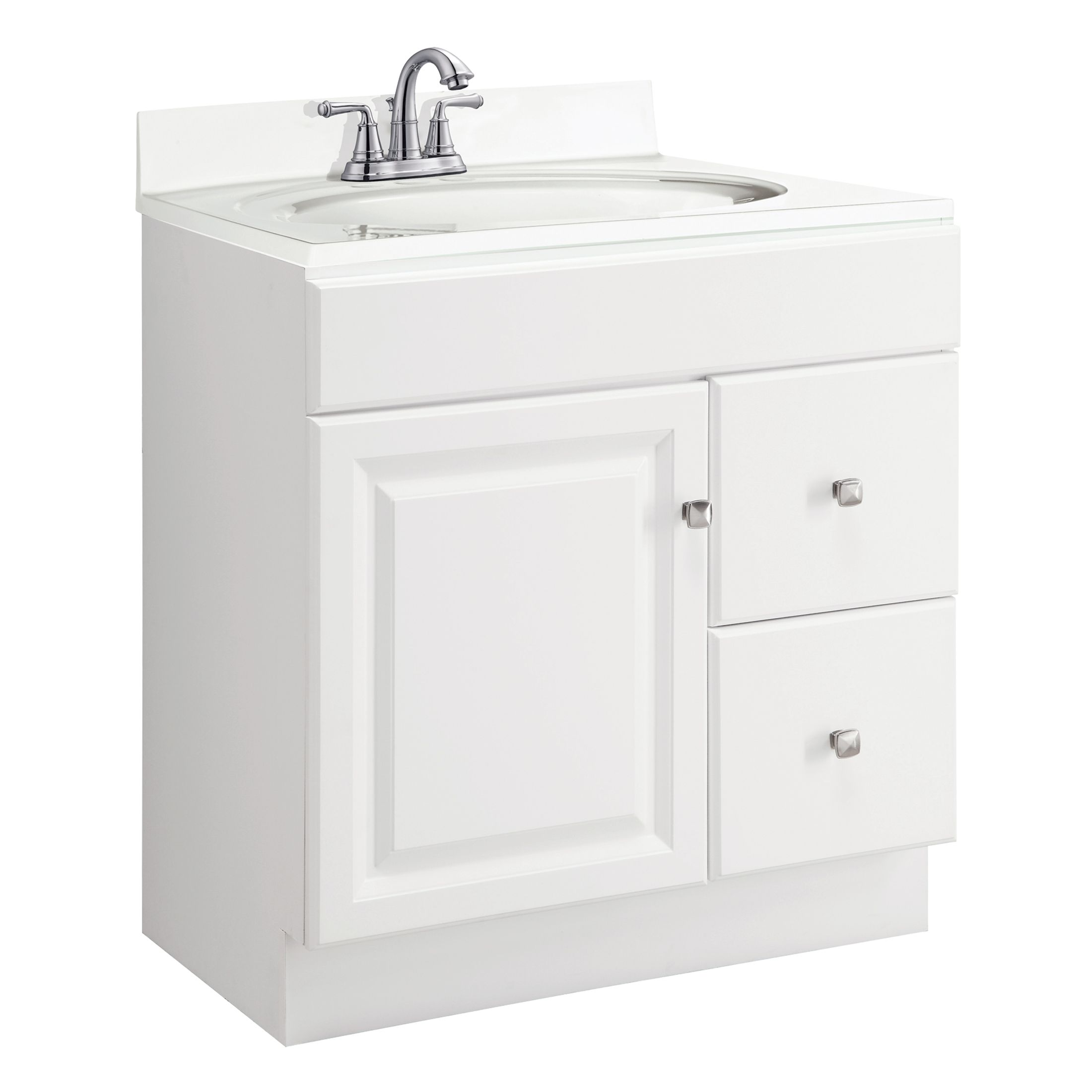 "Wyndham 1-Door 2-Drawer Vanity 30"", White #545079"