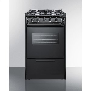 "Summit20"" Wide Slide-in Gas Range In Black With Sealed Burners, Oven Window, Light, and Electronic Ignition; Replaces Tnm114rw/ttm1107cswrt"