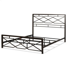 Alpine Metal SNAP Bed with Folding Frame Bedding Support System and Geometric Panel Design, Rustic Pewter Finish, California King