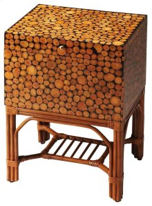 Offering a beautiful fusion of fashion and function, this File Chest features a base meticulously handcrafted from rattan in a natural finish supporting the chest with its intriguing, laminated log veneer and convenient storage. The top opens with complem