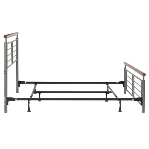 Fontane Complete Metal Bed and Steel Support Frame with Geometric Grills and Rounded Cherry Wood Color Top Rails, Silver Finish, King