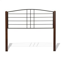 Dayton Metal Headboard Panel with Flat Wood Posts and Sloping Top Rail, Black Grain Finish, Queen