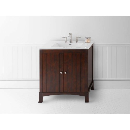 "Hampton 30"" Bathroom Vanity Cabinet Base in Vintage Walnut"