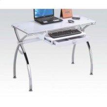 Computer Desk W/white Glass