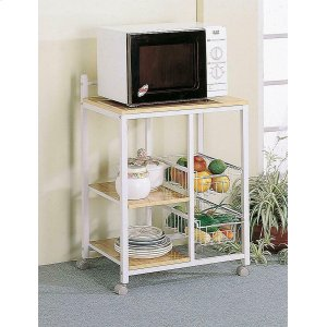 CoasterNatural Brown and White Casual Kitchen Cart