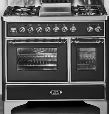 "Gloss Black with Chrome Trim 40"" - 6 Burner Dual Fuel Range"