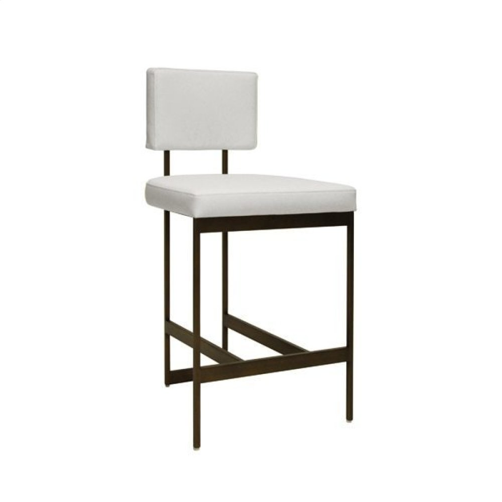 Modern Counter Stool With White Vinyl Cushion In Bronze Seat Height: 26""