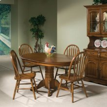 Classic Oak Burnished Rustic Pedestal Table