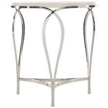 Calista Metal Round Accent Table in Silken Pearl (388)
