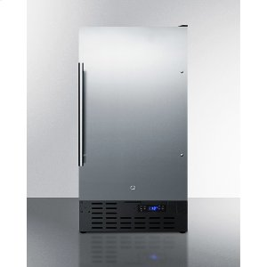 """Summit18"""" Wide Frost-free Icemaker In for Built-in or Freestanding Use Under ADA Compliant Counters, With Stainless Steel Door and Black Cabinet"""