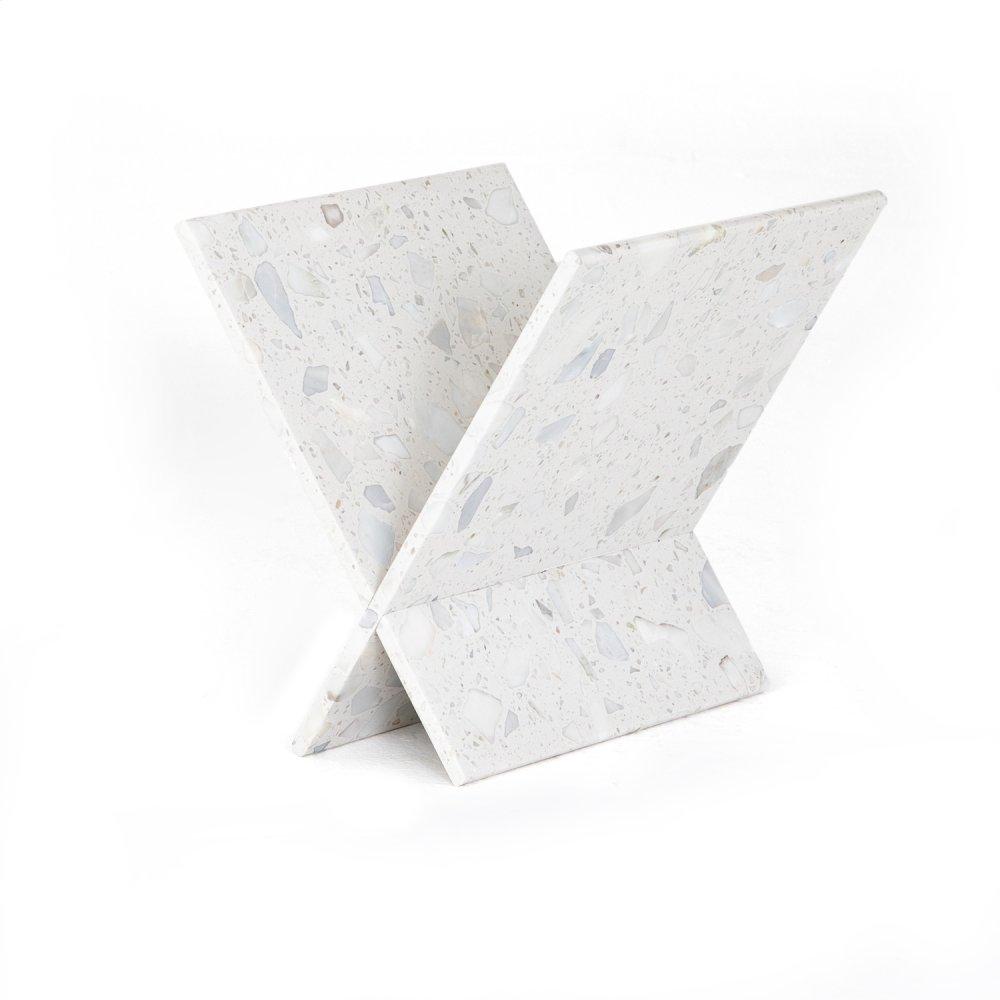 White Terrazzo Finish Lacy Magazine Rack