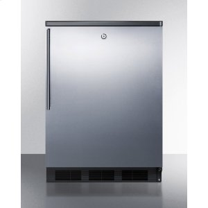 Commercially Listed Freestanding All-refrigerator for General Purpose Use, Auto Defrost W/ss Wrapped Door, Thin Handle, Lock, and Black Cabinet -