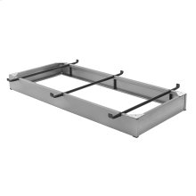 """Pedestal Bed Base 833 with 6.25"""" Pewter Steel Frame and Detachable Bolt-On Headboard Brackets, Twin - Twin XL"""