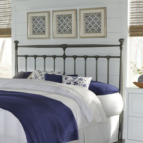 Kensington Metal Headboard with Stately Posts and Detailed Castings, Vintage Silver Finish, Queen
