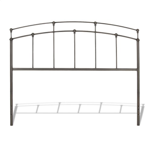 Fenton Metal Headboard Panel with Gentle Curves, Black Walnut Finish, King