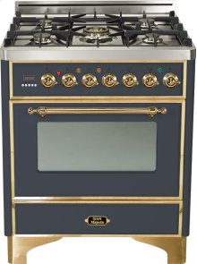 "30"" - 5 Burner Dual Fuel Range - Matte Graphite with Brass Trim"