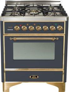"""30"""" - 5 Burner Dual Fuel Range - Matte Graphite with Brass Trim"""