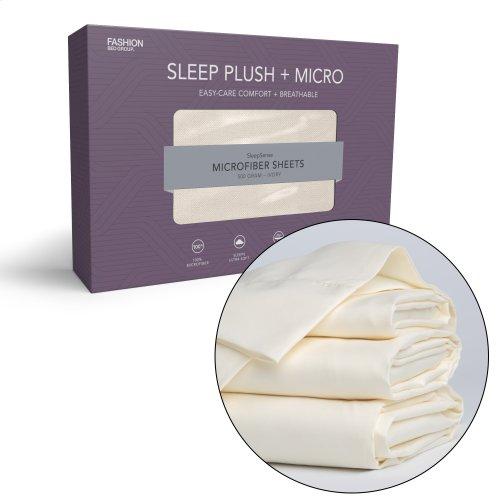 Sleep Plush + Beige 4-Piece Microfiber 500g Bed Sheet Set with Wrinkle Free Performance Fabric, King