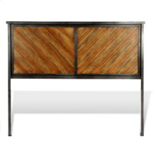 Braden Metal Headboard Panel with Rustic Reclaimed Faux Wood in Diagonal Pattern Frame, Rustic Tobacco Finish, Queen