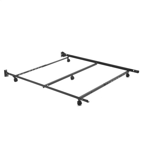 "Low Profile Adjustable Bed Frame Q46R-LP with Keyhole Cross Arms and (5) 2"" Locking Rug Roller Legs, Full - Queen"