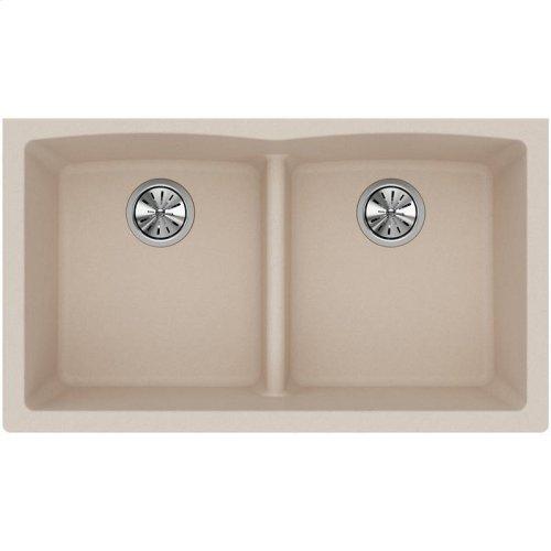 "Elkay Quartz Classic 33"" x 19"" x 10"", Equal Double Bowl Undermount Sink with Aqua Divide, Putty"