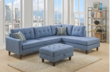 Kourtney Blue Sectional with Storage Ottoman