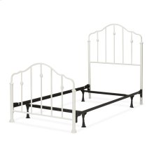 Lorna Fashion Kids Complete Metal Bed and Steel Support Frame with Delicate Arches and Accented Spindles, Warm White Finish, Full
