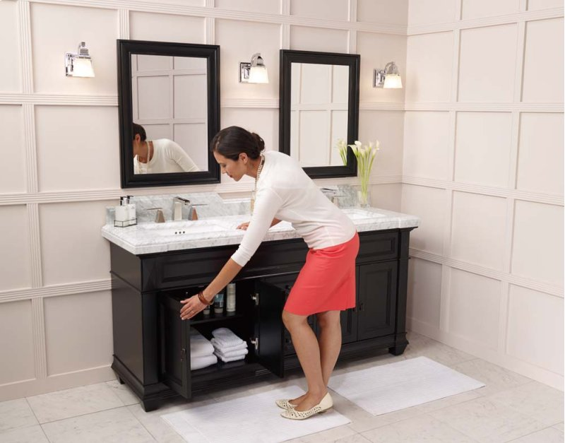 Hidden Additional Torino 72 Bathroom Vanity Cabinet Base In Antique Black