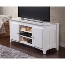 Nantucket 50 inch Entertainment Console with Adjustable Shelves in White