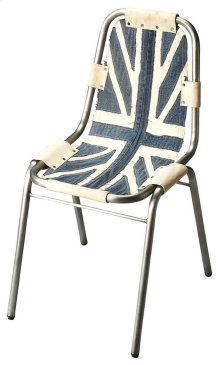 This Side Chair features a denim canvas seat and back riveted to a sturdy, yet lightweight cast aluminum frame.