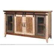 "60"" TV Stand w/2 Glass doors w/1 middle shelf, 2 Sliding doors, w/2 shelves Product Image"