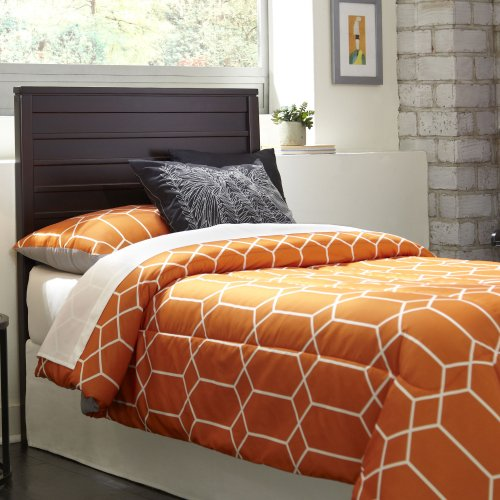 Uptown Wood Headboard Panel with Horizontal Boards and Vertical Posts, Espresso Finish, Full / Queen