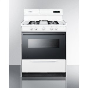 "SummitDeluxe Gas Range In 30"" Width With Electronic Ignition, Digital Clock/timer, Black See-through Glass Oven Door and Light"