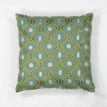 "L106 Teal/gold Gramercy Pillow 18"" X 18"""