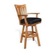 "30""H Sedona Slatback Barstool w/ Swivel, Cushion Seat"