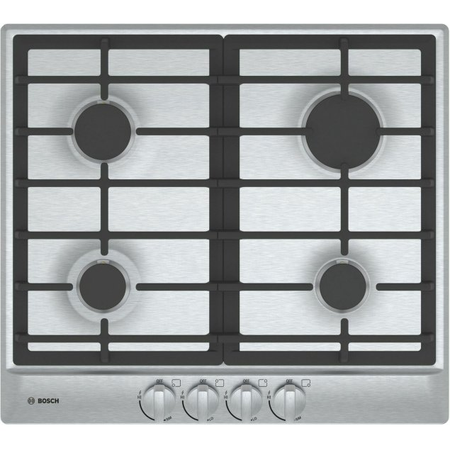 "Bosch 500 Series, 24"" Gas Cooktop, 4 Burners, Stainless Steel"