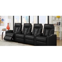 Camden Black Bonded Leather 4-Piece Reclining Theater Set