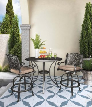 Round Bar Table with 2 Stools