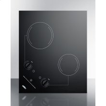 2-burner 230v Electric Cooktop Designed for Portrait or Landscape Installation, With Smooth Black Ceramic Glass Surface
