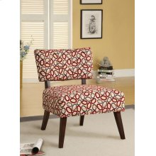 ACCENT CHAIR BEIGE/RED OVAL F.