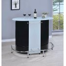 Contemporary Black and Chrome Bar Unit With Frosted Glass Top Product Image