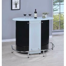 Contemporary Black and Chrome Bar Unit With Frosted Glass Top