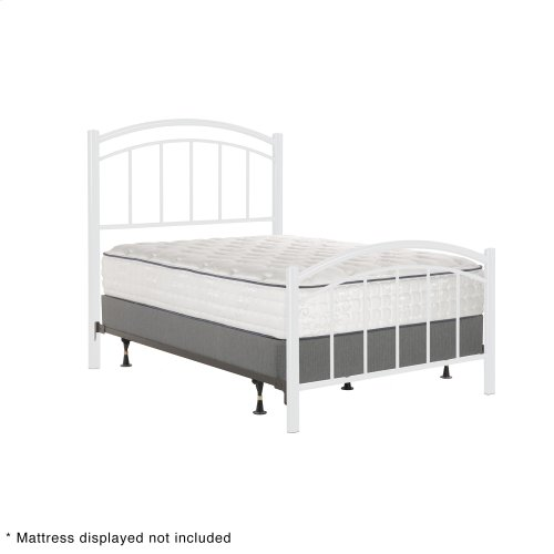 Rylan Fashion Kids Complete Metal Bed and Steel Support Frame with Gently Arced Panels and Vertical Spindles, Cotton White Finish, Full