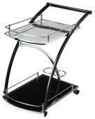 The Lana serving cart will add chic and modern style to your home. It has a black powder-coated metal base, tempered glass shelves and shiny chrome accent. Move the party to any room, with the two large shelves and storage areas this cart is classic and f Product Image