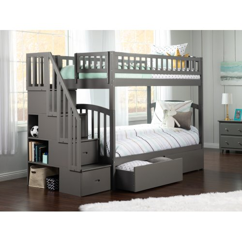 Westbrook Staircase Bunk Bed Twin over Twin with Urban Bed Drawers in Atlantic Grey