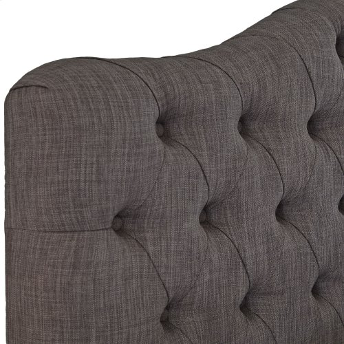 Moselle Complete Upholstered Bed and Bedding Support System with Adjustable Height Button-Tuft Headboard, French Gray Finish, Queen