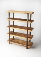 This stylish and highly functional etagere is an essential piece in any modern or loft space. Boasting five solid mango wood shelves in a rugged distressed natural finish, its frame is comprised by four oxidized iron supports and finished on all sides ide Product Image